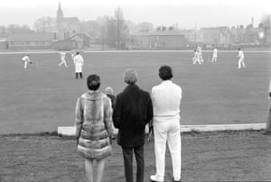 Christmas cricket at Clitheroe, 1971 (Archive ref. GUA-6-9-2-1-2-1526). 'The view is really nice and the people are probably enjoying the cricket match. It looks like they are wearing their winter coats so it must be cold.'