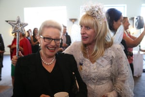 Bronwyn Bishop meets Fairy Sparkle at an Arnotts biscuits event in the mural hall of Parliament House Canberra this morning, Wednesday 2nd December 2015