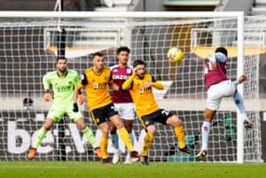 Aston Villa's Jacob Ramsey fires over.