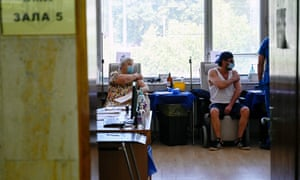 Patients waiting to receive a dose of Covid-19 vaccine in Sofia this month