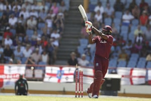 West Indies' Chris Gayle is bowled by England's Mark Wood.