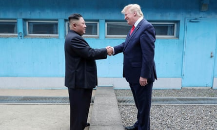 Donald Trump meets with North Korean leader Kim Jong-un at the DMZ on the border of North and South Korea in June.