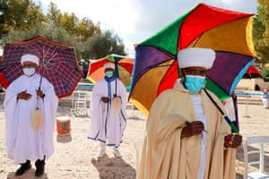 Jerusalem. Israeli religious leaders (Kessim) of the Ethiopian Jewish community recite prayers during the Sigd holiday, which marks the desire to return to Jerusalem, as they celebrate from a hilltop in the holy city
