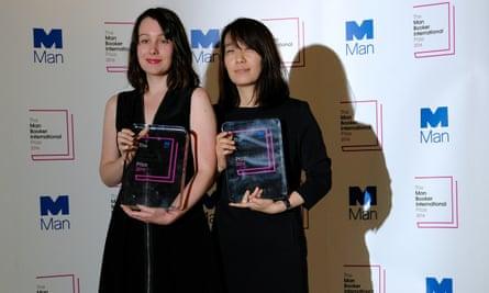 Hang Kang (right) with translator Deborah Smith after winning the Man Booker International prize in 2016.