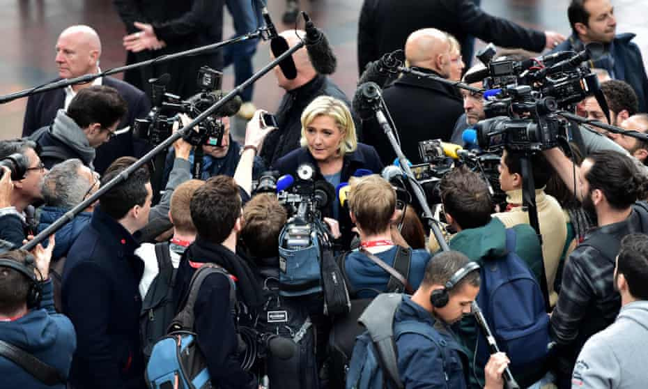 Marine Le Pen addresses journalists at a horse fair in Villepinte, north of Paris, December 2016