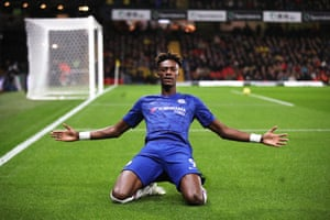 Tammy Abraham of Chelsea celebrates after scoring the opener as Chelsea win 1-2 against Watford at Vicarage Road.