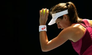 Britain's Johanna Konta prepares to serve during her semi-final match against Germany's Angelique Kerber at the Australian Open.