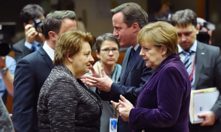 David Cameron and Angela Merkel at the summit in Brussels