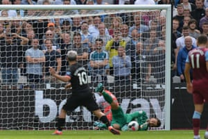 Sergio Aguero of Manchester City first penalty was saved by Lukasz Fabianski of West Ham United but VAR ruled it out.