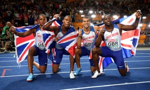 Chijindu Ujah, Zharnel Hughes, Adam Gemili and Harry Aiknes-Aryeetey celebrate winning gold for Great Britain in the men's 4x100m on the final night of competition in Berlin.