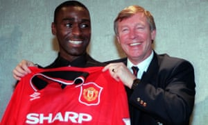 Andy Cole is unveiled at Old Trafford in 1995.