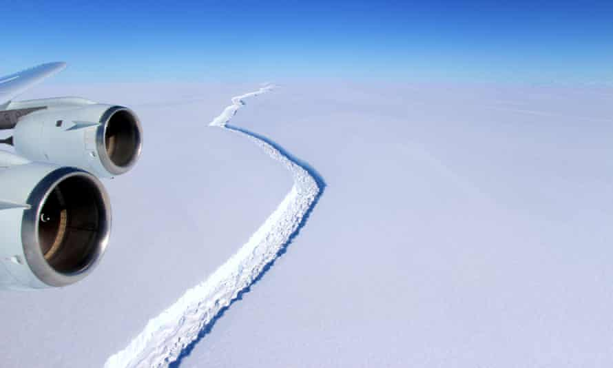 An aerial view of the Larsen C ice rift in Antarctica. The rift is now nearly 200km long, and will release an iceberg 5,000 sq km in size.