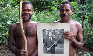 Two islanders proudly show the photo the Duke of Edinburgh sent them in 1980.
