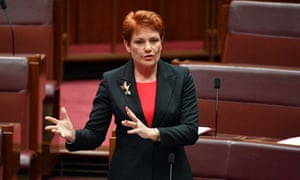Pauline Hanson speaks on the government's schools funding package on Wednesday.