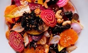 Winter root salad, citrus dressing