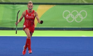 Danson celebrates after scoring her second goal during Great Britain's 3-0 semi-final win over New Zealand at the 2016 Rio Olympics.