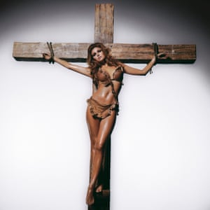 Raquel Welch on the Cross, 1966'In 1966, the censorship laws that had choked film-making had become a thing of this past,' said O'Neill. 'Naturally, the film-makers knew that a scantily clad Raquel Welch was going to draw attention. Raquel was shy about being filmed in a fur bikini. She told me she thought she'd be crucified by the press. thought, 'That's it!' I somehow convinced the studio to set up a giant crucifix for me. Once the film was developed we both got nervous so we decided not to publish it. Thirty years later, we decided to ahead'