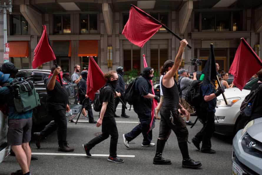 Members of an anti-fascist or Antifa march in Washington DC in 2019.
