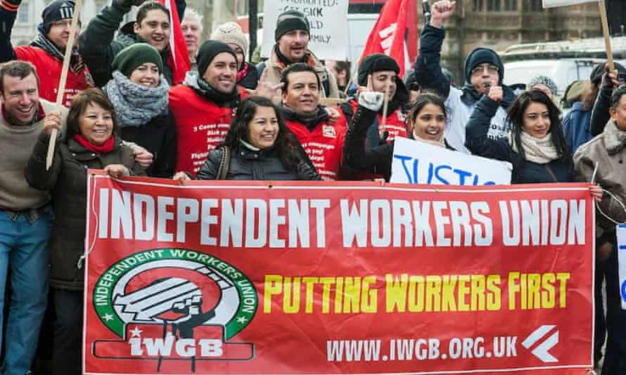 A protest by members of the Independent Workers Union.