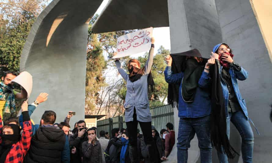 People protest against the high cost of living in Tehran, Iran.