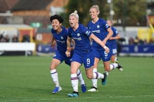 Bethany England celebrates scoring the equaliser for Chelsea.