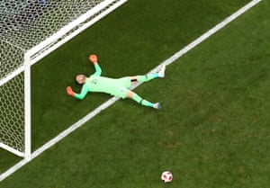 The Croatian keeper looks blown away by that strike.