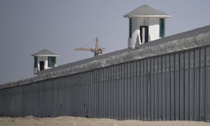 Watchtowers on a high-security facility in China's northwestern Xinjiang region near what is believed to be a re-education camp where mostly Muslim ethnic minorities are detained. As many as one million ethnic Uighurs and other mostly Muslim minorities are believed to be held in a network of internment camps in Xinjiang.