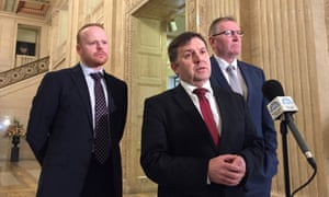 Ulster Unionist party (UUP) leader Robin Swann (centre) and his party colleagues John Stewart (left) and Doug Beattie speaking to the media at Stormont after talks with Theresa May