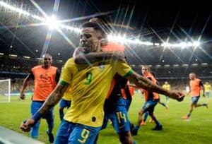 Gabriel Jesus celebrates after scoring for Brazil against Argentina in the semi-finals.