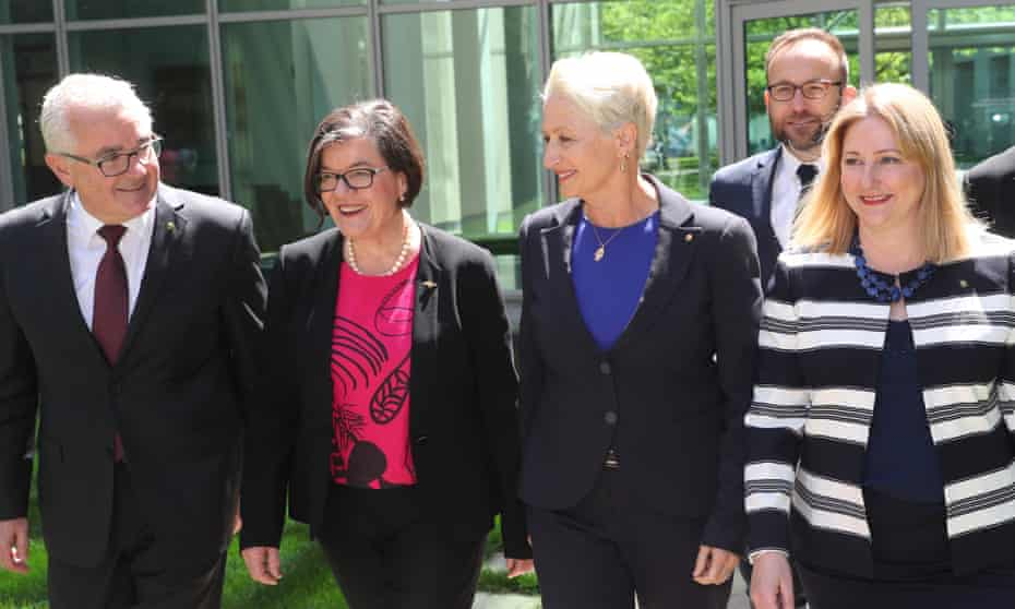 Independents Andrew Wilkie, Cathy McGowan, Kerryn Phelps, Adam Bandt and Rebekha Sharkie in October.
