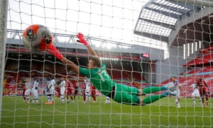 Crystal Palace's Wayne Hennessey is beaten by a free-kick from Liverpool's Trent Alexander-Arnold in the Premier League match at Anfield.