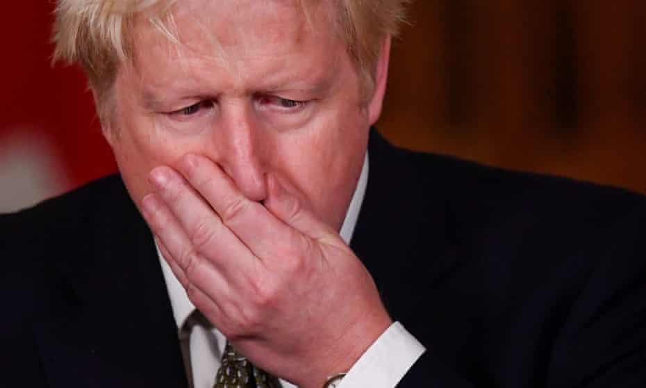 Boris Johnson during a Downing Street briefing on coronavirus.