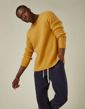 Yorkshire-based menswear brand Cut & Pin has a low-waste philosophy: garments are produced from either deadstock piles (pieces big manufacturers throw away), recycled materials or organic fabric. The first collection takes its inspiration from David Hockney, another Yorkshireman. Pieces include oversized ribbed knits, long-line scarfs, rugby-striped cardigans. Jumper, £165, cutandpin.com