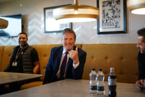 Leeds, UK. Labour Party leader Sir Keir Starmer visits the Leeds United Foundation at Elland Road stadium, to see firsthand the serious violence reduction work being done in the area