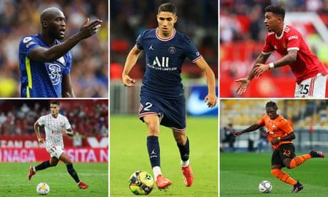 From top left; Chelsea's Romelu Lukaku, Achraf Hakimi of Paris Saint-Germain, Jadon Sancho of Manchester United, Lassina Traoré of Shakhtar Donetsk and Erik Lamela of Sevilla