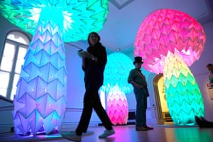 """""""Shrumen Lumen"""" by the Foldhaus Collective is seen during a preview of the No Spectators: The Art of Burning Man exhibition at the Renwick Gallery in Washington, DC on March 29, 2018. The show brings artwork from the Nevada desert gathering to Washington for the first time. The exhibition runs from March 30, 2018 to January 21, 2019. / AFP PHOTO / Mandel NGAN / RESTRICTED TO EDITORIAL USE - MANDATORY MENTION OF THE ARTIST UPON PUBLICATION - TO ILLUSTRATE THE EVENT AS SPECIFIED IN THE CAPTIONMANDEL NGAN/AFP/Getty Images"""
