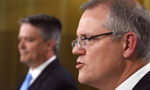 Australia's treasurer Scott Morrison and finance minister Mathias Cormann
