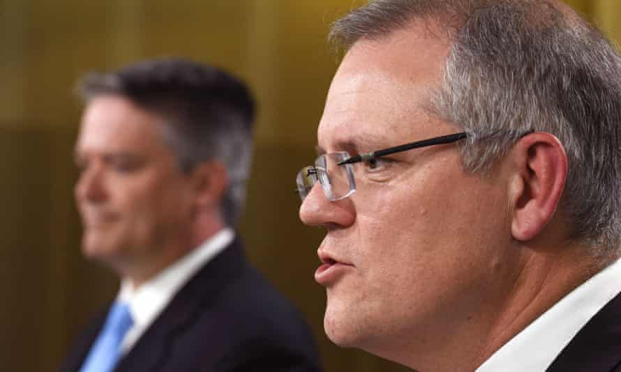 Australia's treasurer Scott Morrison and finance minister Mathias Cormann