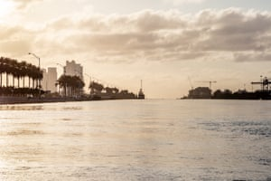 View of Miami Beach and Fisher Island from water