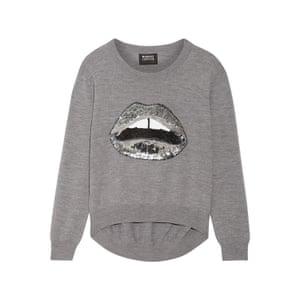 silver sweatshirt with silver lips motif Markus Lupfer
