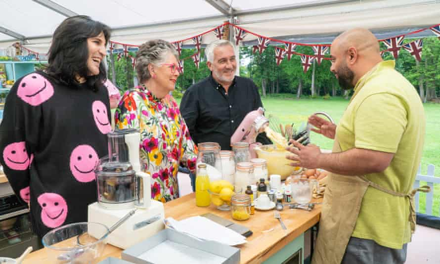 Noel Fielding, Prue Leith and Paul Hollywood with Bake-Off contestant George