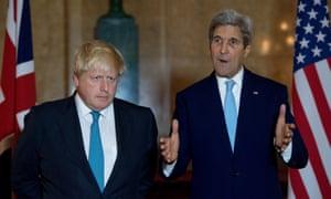UK foreign secretary Boris Johnson and US secretary of state John Kerry at Lancaster House, London.