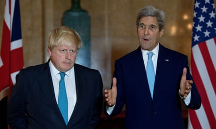 UK foreign secretary Boris Johnson and US secretary of state John Kerry at Lancaster House, London.