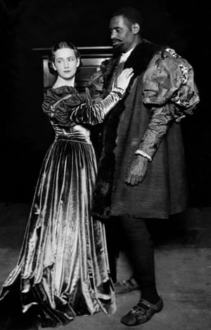 Paul Robeson as Othello with Peggy Ashcroft as Desdemona in a 1930 production of Othello at the Savoy theatre in London.