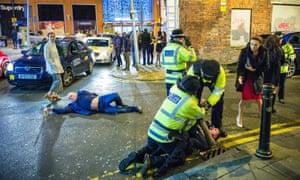 New year mayhem in Manchester
