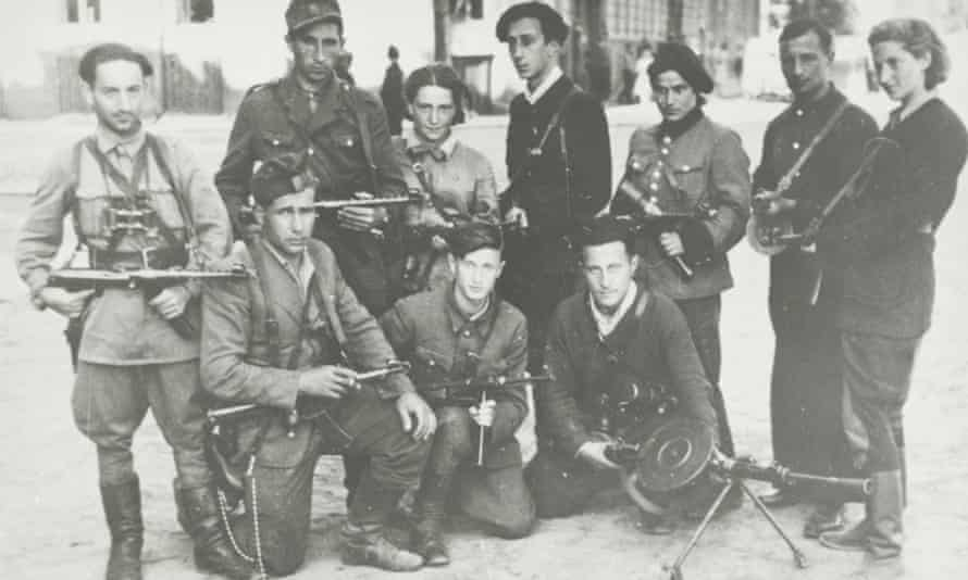 Jewish Lithuanian partisans' group 'The Avengers' on their return to Vilna at the time of the liberation of the city by the Red Army in July 1944.
