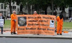 Protesters in Parliament Square demand release of Guantánamo Bay prisoner Shaker Aamer