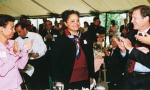 Lila Fenwick speaks to attendees of a Harvard Law summit in 2003.