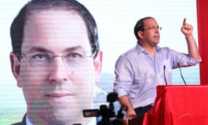 Tunisia's prime minister, Youssef Chahed, campaigns as a presidential candidate.