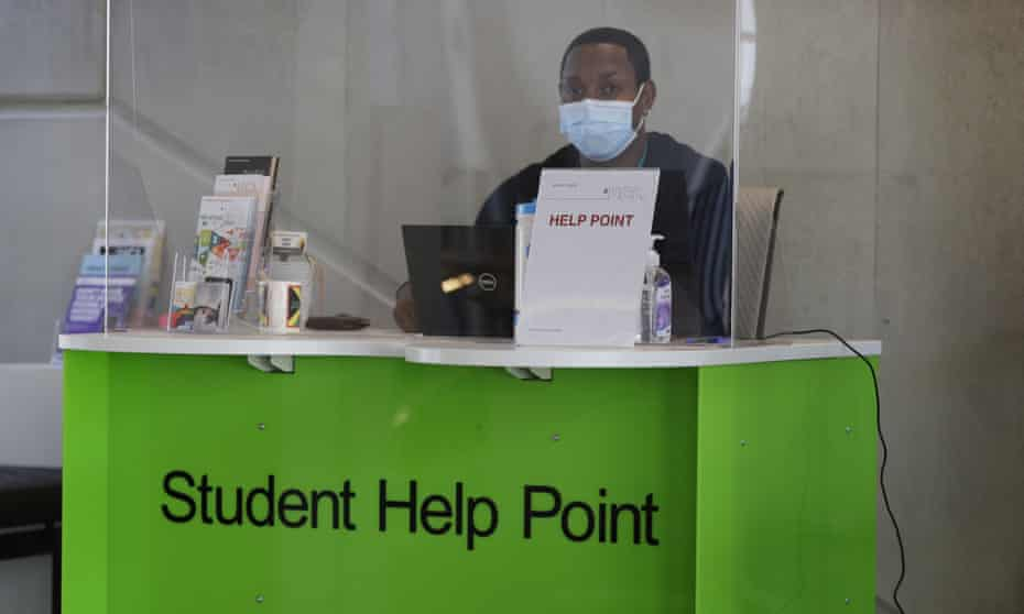 A student help point at University College London.